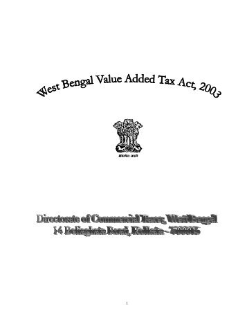 West Bengal Act XXXVII of 2003 - Directorate of Commercial Taxes