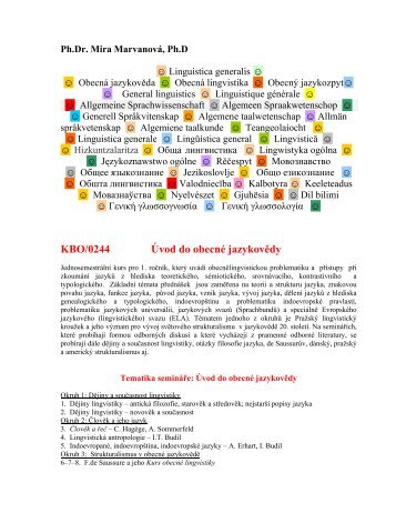 KBO/0244 Úvod do obecné jazykovědy - Pf UJEP