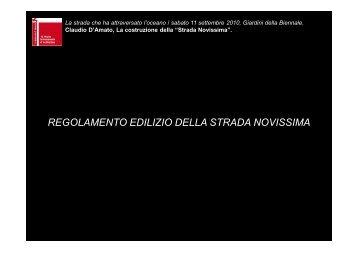 REGOLAMENTO EDILIZIO DELLA STRADA NOVISSIMA