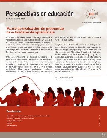 Marco de evaluación de propuestas de estándares de aprendizaje