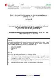 Cadre de qualifications pour le domaine des hautes écoles suisses