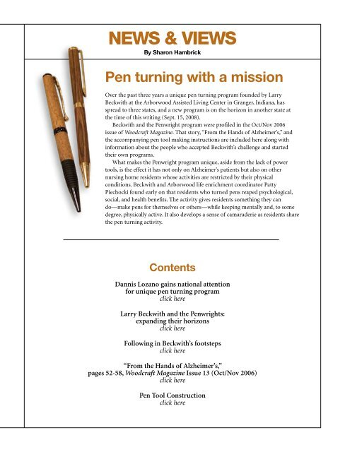 Pen turning with a mission - Woodcraft Magazine