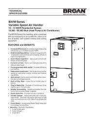 B3VM Series Variable Speed Air Handler - Nordyne