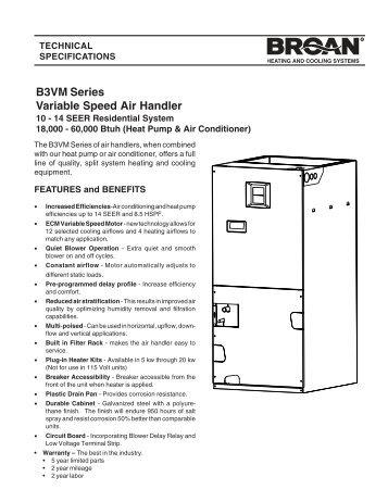 B Vm Series Variable Speed Air Handler Nordyne