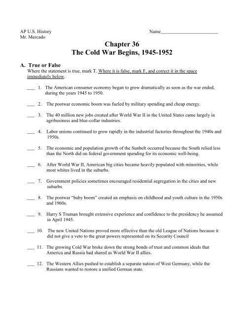 Chapter 36: The Cold War Begins, 1945-1952