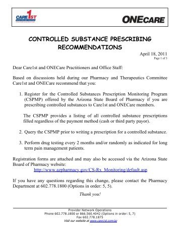 controlled substance prescribing recommendations - Care1st Health ...