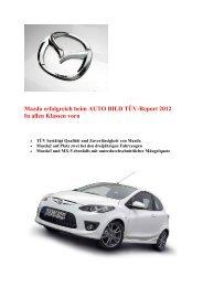 Mazda erfolgreich beim AUTO BILD TÜV-Report 2012 In  allen  ...