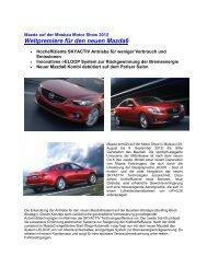 Weltpremiere für den neuen Mazda6 - Mazda Autohaus Rottmann