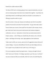 Remarks for Student Welcome - Sweet Briar College