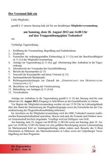 einladung zur mitgliederversammlung / jahreshauptversammlung, Einladung