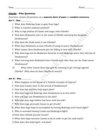 othello act i group questions No fear shakespeare – othello (by sparknotes, transcription by alex woelffer) -1- original text modern text act 1, scene 1 enter rodmerigo and iago roderigo and.