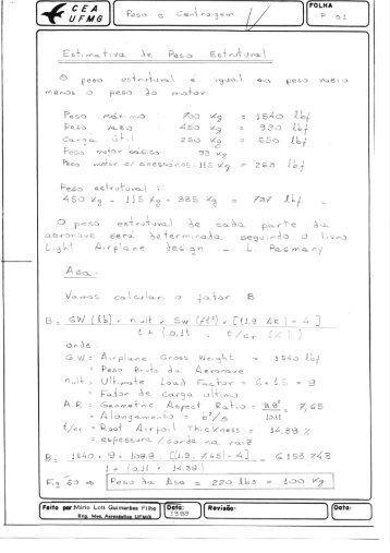 Peso e Centragem - UFSC Aerodesign