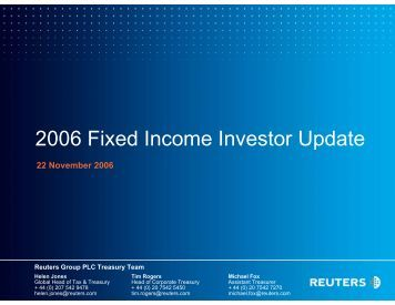2006 Fixed Income Investor Update