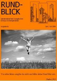 Rundblick 61 (Juni/Juli 08) - Ev. Emmaus-Kirchengemeinde