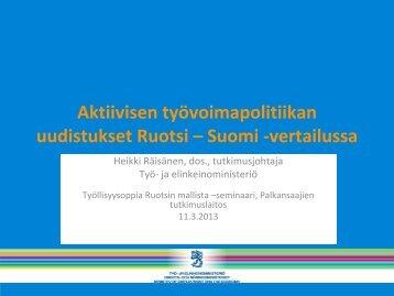 Aktiivisen työvoimapolitiikan uudistukset Ruotsi – Suomi -vertailussa