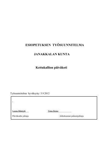 Esiopetuksen työsuunnitelma 2012-2013 - Janakkalan kunta