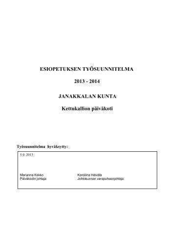 2013-2014 esiopetuksen työsuunnitelma - Janakkalan kunta