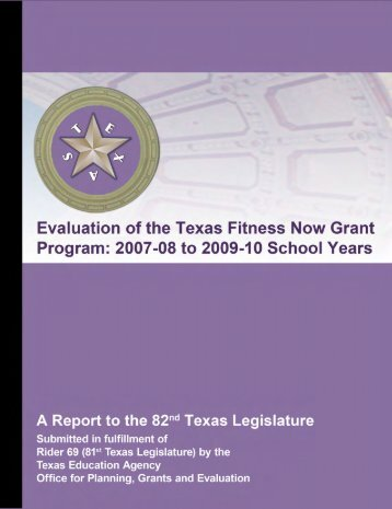 Evaluation of the Texas Fitness Now Grant Program: 2007-08 to ...