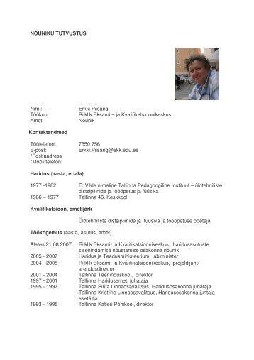 Erkki Piisang - Riiklik Eksami ja Kvalifikatsioonikeskus