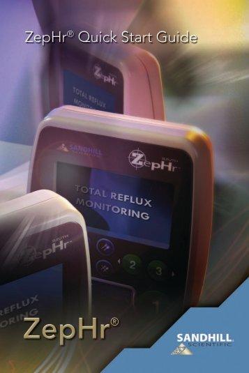 ZepHr Quick Start Guide (PDF) - Sandhill Scientific