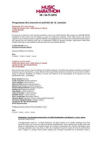 Programme des concerts et activités de la semaine - Bozar.be