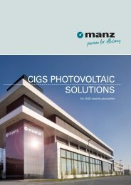 CIGS PHOTOVOLTAIC SOLUTIONS - Manz