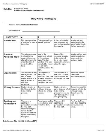 Your Rubric: Story Writing : Weblogging