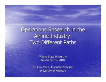 Operations Research in the Airline Industry - Wayne State University