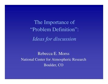 "The Importance of ""Problem Definition"": Ideas for discussion"