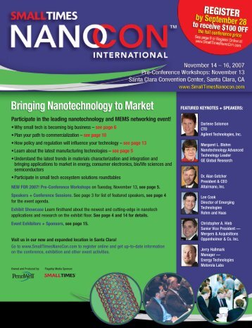 Participate in the leading nanotechnology and MEMS networking ...