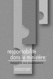 Responsabilité dans le ministère : énoncé de nos engagements