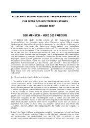 Wortlaut der Papst-Botschaft zum Weltfriedenstag 2007
