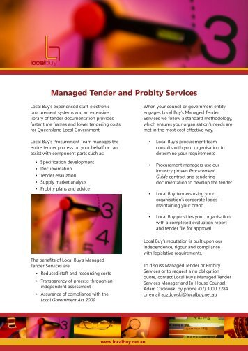 Managed Tender and Probity Services - Local Buy