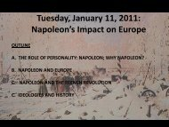 Tuesday, January 13, 2009: Napoleon's Impact on Europe