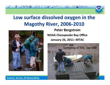 Low surface dissolved oxygen in the Magothy River, 2006-‐2010