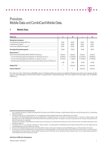 Preisliste Mobile Data und Combicard Mobile Data.