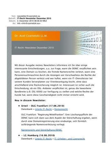 IT-Recht Newsletter Dezember 2010 - Dr. Axel Czarnetzki LL.M.