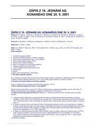 ZÁPIS Z 16. JEDNÁNÍ AS, KONANÉHO DNE 20. 9. 2001
