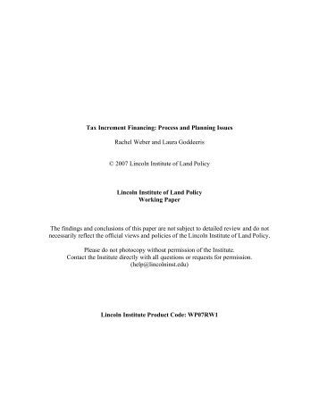 Tax Increment Financing - Lincoln Institute of Land Policy