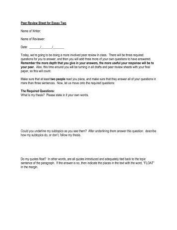 peer response essay