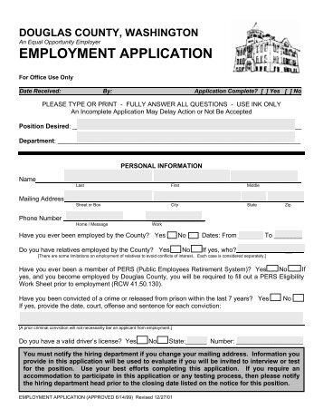 EMPLOYMENT APPLICATION - Douglas County