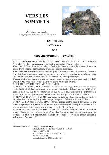 Vers les sommets de février 2012 - Ton mot d'ordre - La Porte Latine