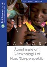 Bioteknologi i et Nord/Sør-perspektiv. Åpent møte