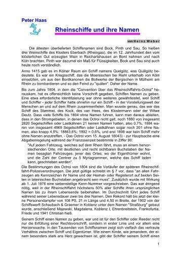 Peter Haas Rheinschiffe und ihre Namen
