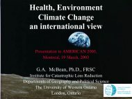 Health, Environment Climate Change an international view