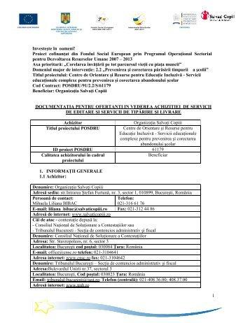 Documentatie pentru Ofertanti pt Achizitie Servicii ... - Salvati Copiii