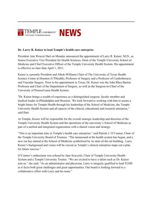 Dr  Larry R  Kaiser to lead Temple's health care     - Temple University