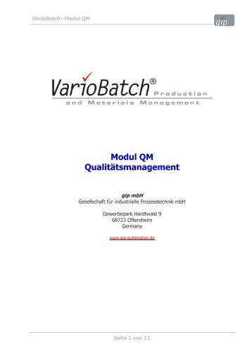Juli 07, VarioBatch, Modul QM - gip – Gesellschaft für industrielle ...