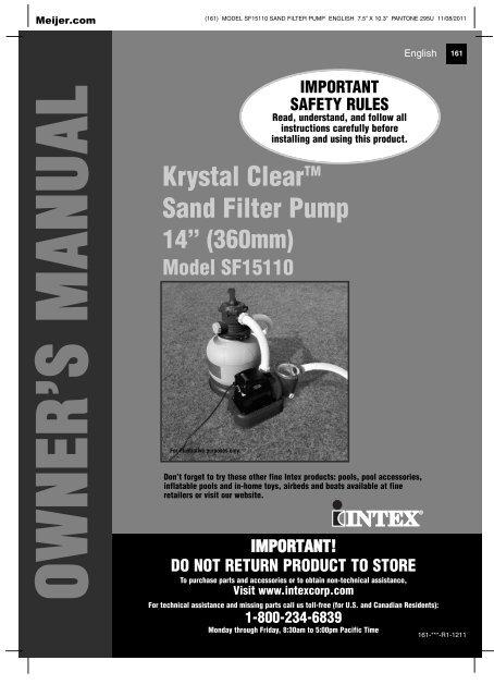 intex filter pump sf15110 manual