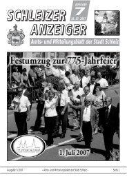 Amts- und Mitteilungsblatt der Stadt Schleiz AUSGABE 26. 07. 2007 7